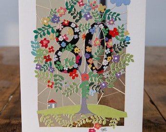 80th Birthday Card - luxury laser cut-out -made in England