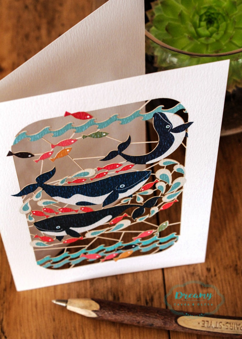 Three Whales Greeting Cards for All Purpose Handmade Birthday Card Laser Cut-out in England