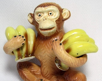 Vintage CHIMP Chimpanzee and BANANAS Salt & Pepper Shaker Set Monkey Ape Holder