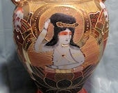 Vintage Japanese Hand Painted Gilded Satsuma Moriage Immortals Vase Jar Urn 11 quot