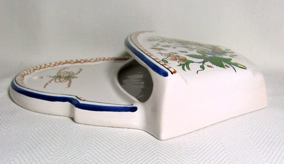 Peint Main DECOR ROLLEN French Faience Hand Painted Wall Pocket Vase 8.3