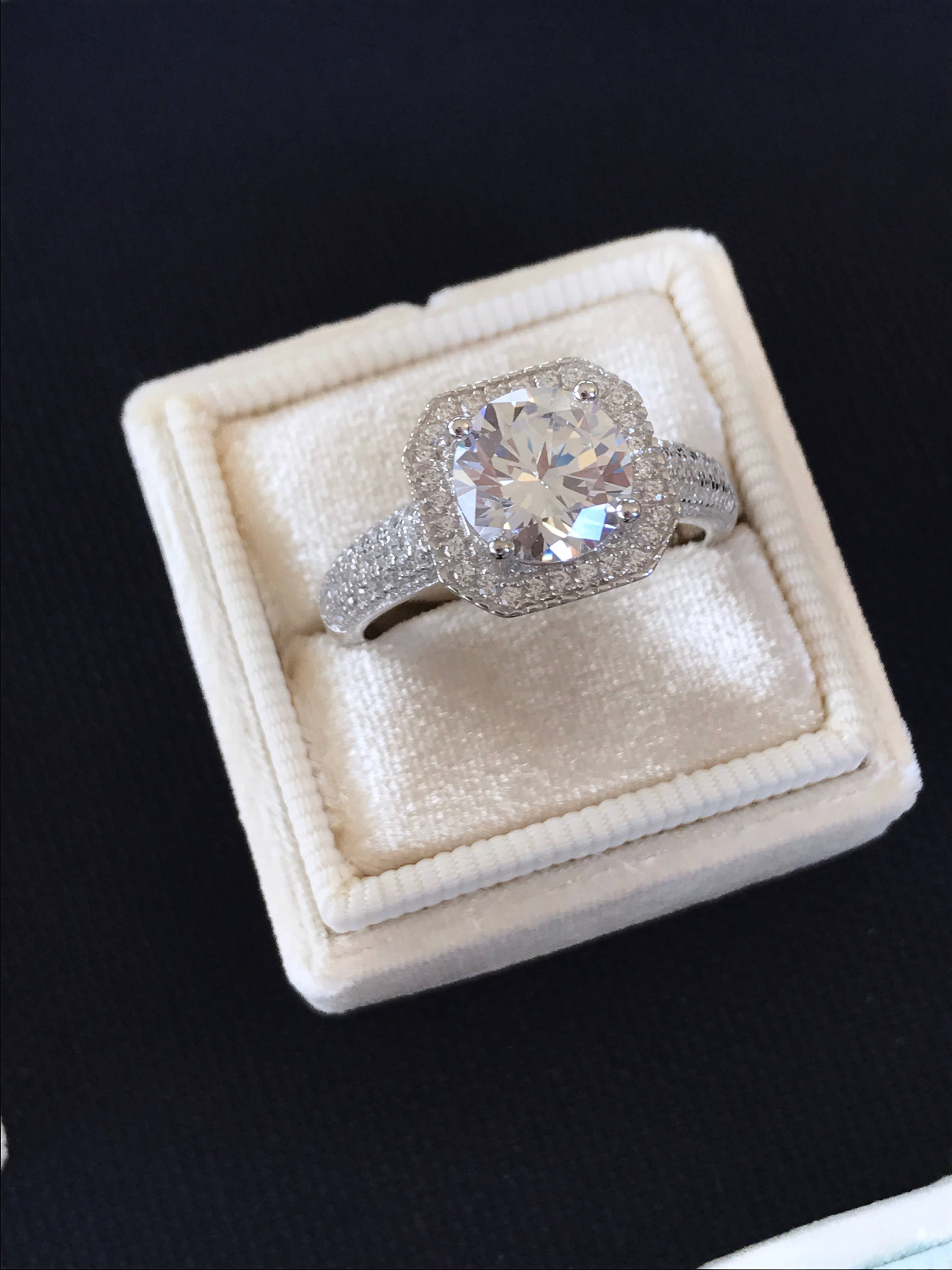 2 Carat Round Engagement Ring With Princess Cut Shape Halo