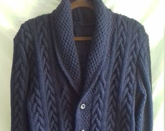 cf9361bcf17f9 Hand Knit Handmade Warm Dark Blue Wool Blend Shawl Collar Cable Men s  Sweater Cardigan Clasped On Five Buttons Custom Order