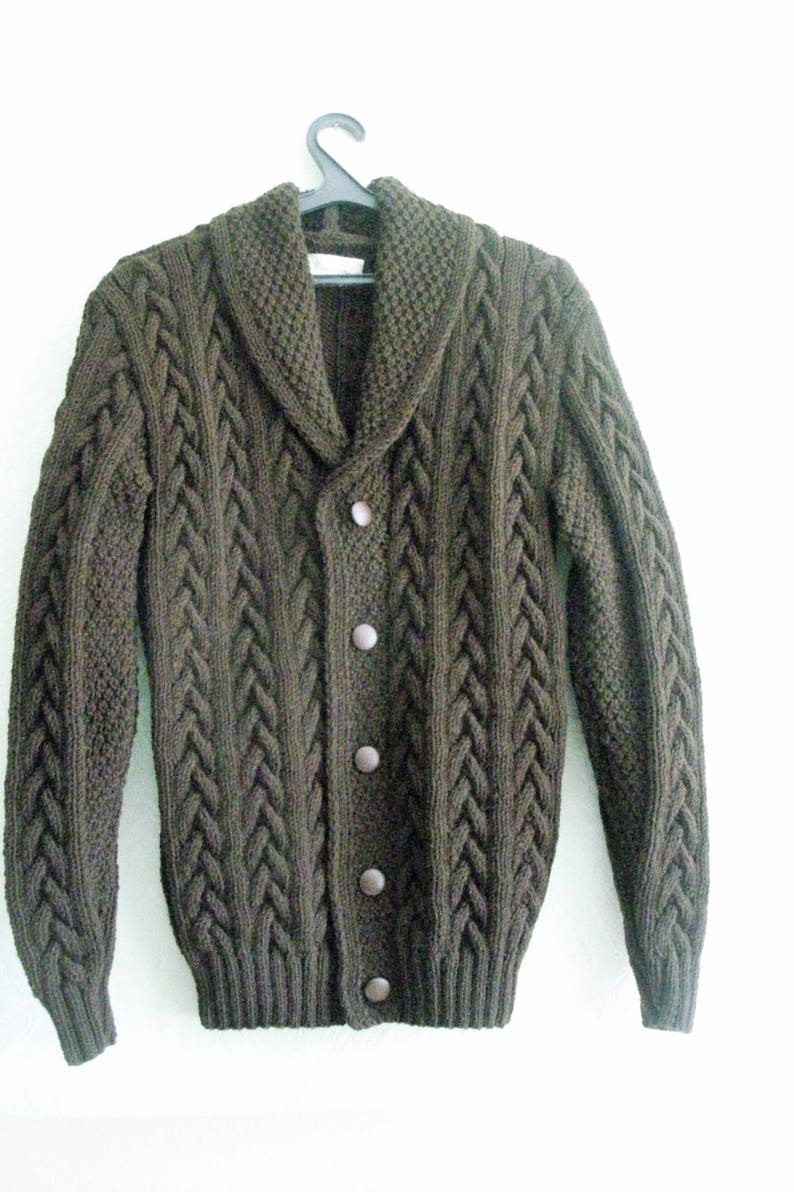 Hand KnitHandmade Warm Wool Blend Shawl Collar Cable Men/'s SweaterCardigan Clasped On Five Faux Leather Buttons Custom Order