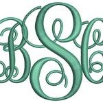 Interlocking Monogram Embroidery Font 4 Sizes Machine BX Embroidery Fonts Embroidery Monogram Fonts 3 Letter Monogram - Instant Download