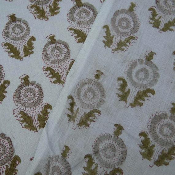 20 verges à la main en coton à la main bloc Sanganeri Jaipuri Voile imprimé tissu imprimé, tissu beau tissu de coton imprimé Floral soleil indien