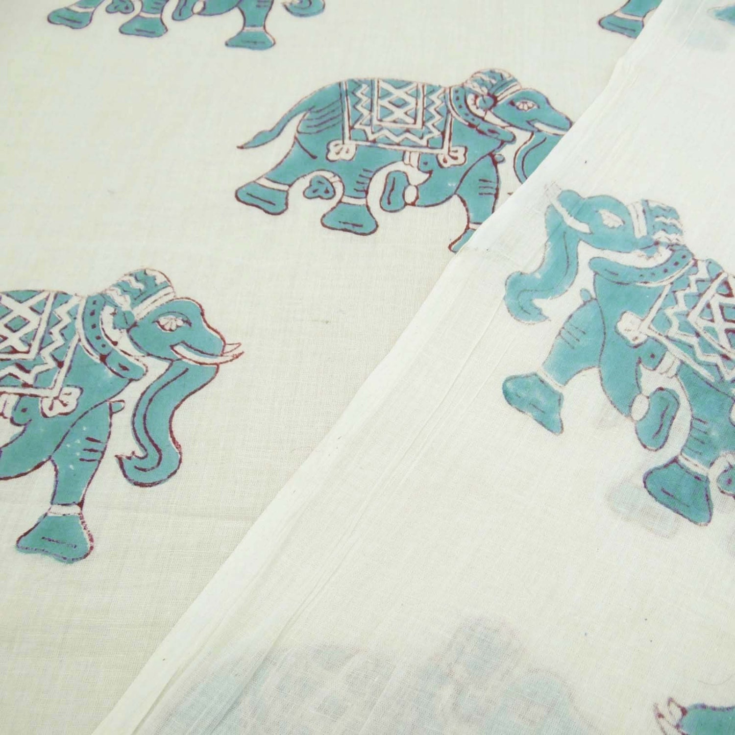 477343975d4d Sold by Yard Elephant Print 100% Cotton Hand Printed Block