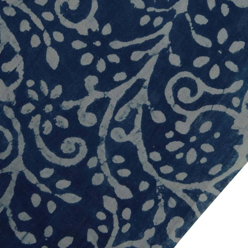 5 YARD INDIAN NATURAL WHITE BLUE DYE HAND BLOCK BAGRU PRINTED COTTON FABRIC