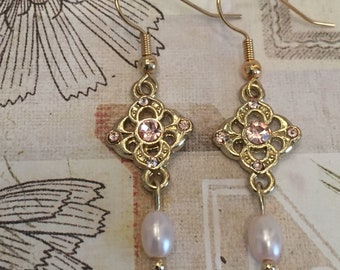 Delicate Pink Pearl Earrings