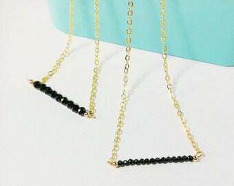 Black spinel Necklace, Spinel necklace, Dainty necklace, Stacking necklace, Gemstone necklace, Recovery stone