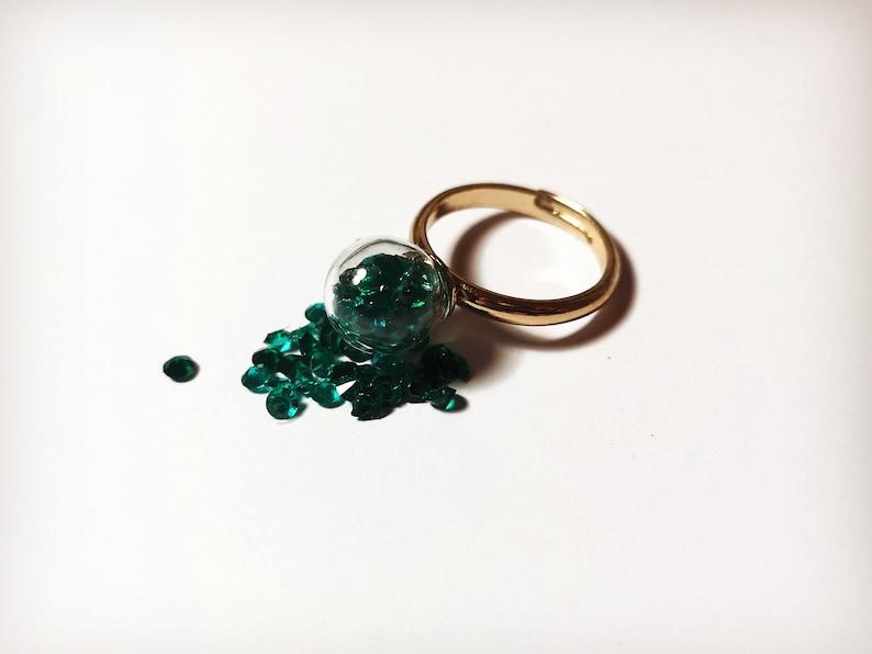Diamant\u00e9 Ring Glass Orb Ring Adjustable ring