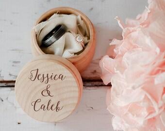 Engraved Wedding Ring Box, Wooden Ring Box, Wedding Gift, Ring Bearer Box, Engraved Wooden Box, Custom Names Ring Box, With This Ring Box
