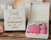 Bridesmaid Proposal Gift Box, Bridesmaid Proposal Gift Box, Custom Engraved Wood Box, Custom Wooden Jewelry Box, Wedding Keepsake