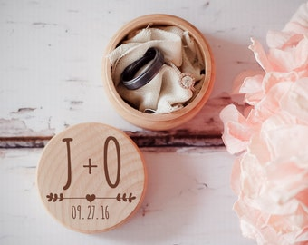 Engraved Wedding Ring Box, Wooden Ring Box, Wedding Gift, Ring Bearer Box, Engraved Wooden Box, Arrow Heart Initials Box, With This Ring Box