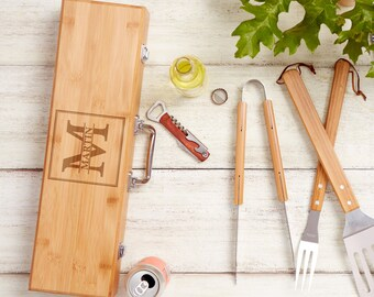 Personalized BBQ Grill Set, Engraved Wood Grill Set, Bamboo BBQ Grill Set, Fathers Day Gift Idea, Gift For Dad, BBQ Gift Set, Grilling Tools