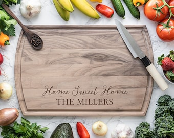 Housewarming Gift, Personalized Cutting Board, Juice Groove Cutting Board, Charcuterie Board, Self Gift, Home Sweet Home, Gift for Mom