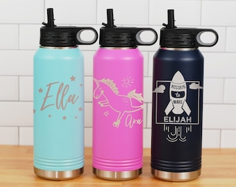 Unicorn Water Bottle Clear Girls Kids Personalized School Gift Party