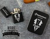Groomsman Lighter With Free Gift Tin, Personalized Lighter For Groomsmen, Best Man Lighter, Engraved Lighter, Matte Black Lighter Gift Set