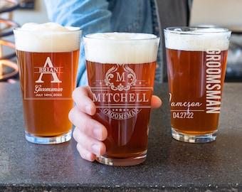 Groomsman Beer Glass, Engraved Pint Glass, Groomsmen Gift Idea, Groomsman Beer Mug, Personalized Best Man Gift, Groomsman Glass