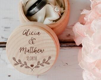 Engraved Wedding Ring Box, Wooden Ring Box, Wedding Gift, Ring Bearer Box, Engraved Wooden Box, Custom Name Ring Box, With This Ring Box