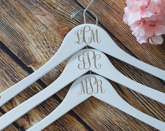 Wedding Dress Hanger, Monogram Dress Hanger,White Hanger, Bridesmaid Hangers, Bridal Party Hangers, Wooden Hangers, Custom Bridesmaid Hanger