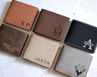 Men's Wallet, Personalized Wallet, Gift for Him, Groomsman Gift, Husband Gift, Monogram Wallet, Engraved Wallet