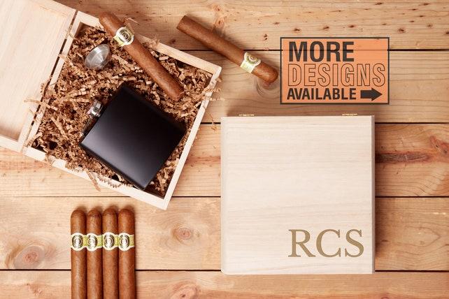 Personalized Gift Box, Monogrammed Gift Box, Engraved Gift Box, Gift Box For Men, Dad Gift Box, Husband Gift Box, Man Box, Cigar Gift Box