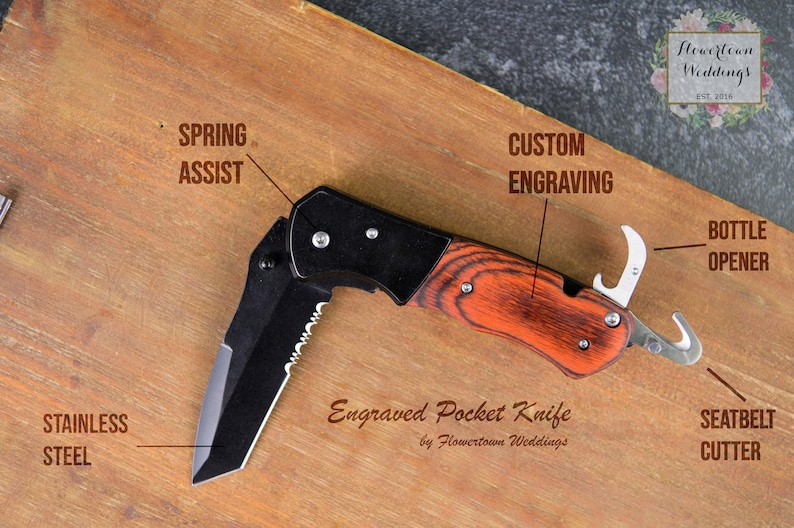 Personalized Pocketknives Best Man Pocket Knife Laser Engraved Pocket Knife Pocketknife For Groomsman Engraved Groomsman Pocket Knives