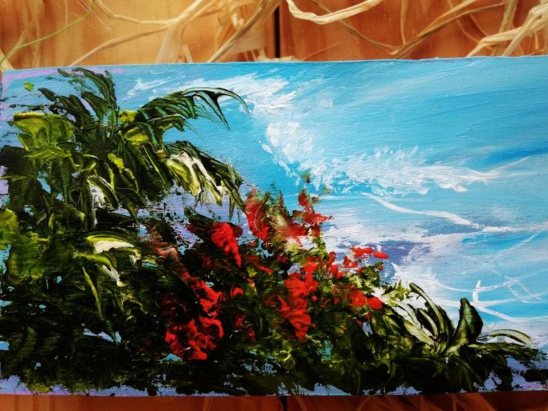 Beach Palms ocean Tropical mini painting Impasto landscape oil painting on wood Paradise Hawaii art Colorful beach Miniature landscape