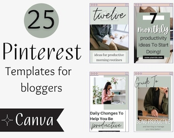 Pinterest Templates For Bloggers - Sage Edition On Canva