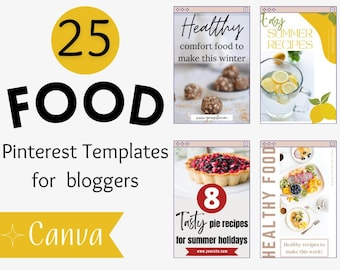 Food Pinterest Template For Bloggers - Edit on Canva