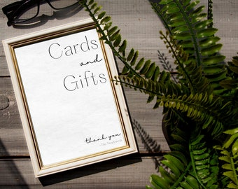 Cards and Gifts wedding sign template // Downloadable modern minimalist cards and gifts sign// black and white gift table sign!