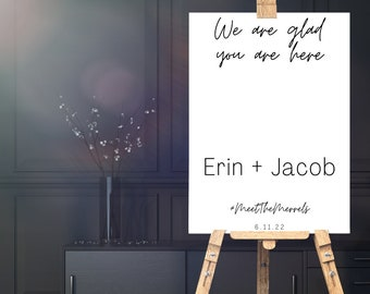 Modern Welcome Sign: Glad you're here Design // Edit In Canva