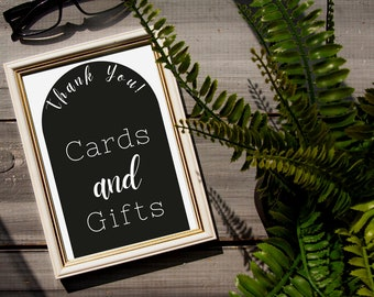 Cards and Gifts wedding sign template // Downloadable modern arch cards and gifts sign// modern minimalist gift table sign!