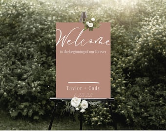 Welcome Wedding Sign Boho Color, Boho Theme Wedding Welcome Sign Customizable // Edit in Canva