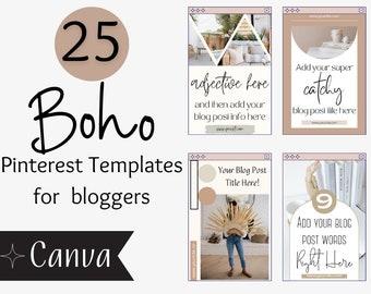 Boho Pinterest Template For Bloggers - Edit on Canva