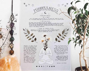 Mindfulness Poster, Law of Attraction, Meditation