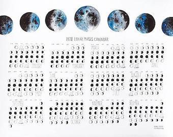 Lunar Phases Calendar 2018, Moon Phases, Moon Calendar