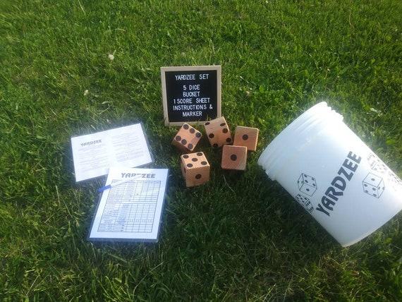 5 Natural Finish Wood Yard Yahtzee Lawn Dice Game Reusable Score /&Marker Yardzee