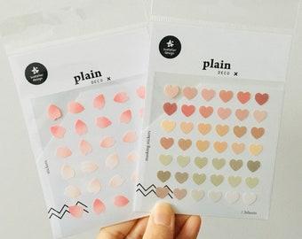 Suatelier Plain Deco Series Stickers   Sakura Petal Stickers   Coloured Love Heart Stickers   Korean Planner Diary Mini Stickers Set