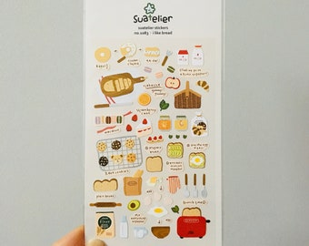 Suatelier Stickers   i like bread   Whimsical Bread Stickers   Cute Kawaii Korean Bread Stickers   Cute Sandwich Toast Picnic Stickers
