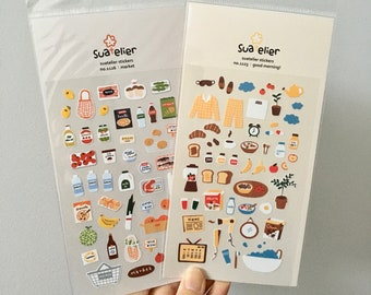 Suatelier Stickers   good morning!   market   Cute Kawaii Korean Daily Stickers   Home Morning Routine Stickers   Groceries Market Stickers