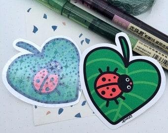 Cute Ladybug Sticker   Ladybug Needs Coffee Sticker   Ladybug Doodle Sticker   Quirky Ladybug Sticker   Kawaii Ladybug Resting on Leaf