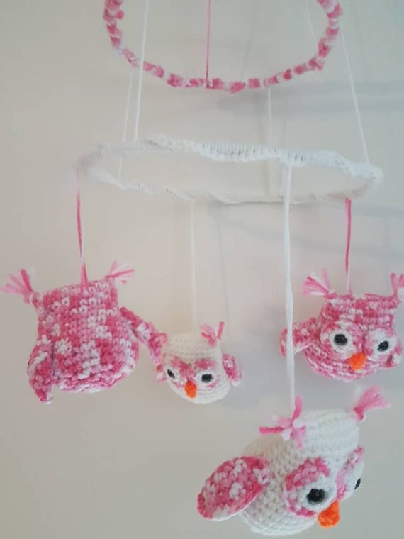 Pink/White Owl Mobile