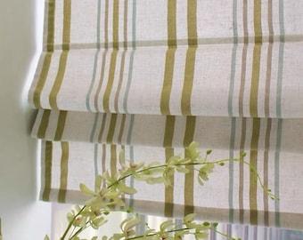 Classic roman shade washable flat and fold, custom option to add blackout lining, Yellow green lake blue woven stripe
