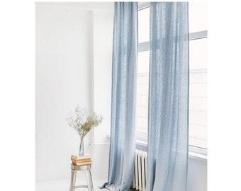 """53""""/135 Cm Wide Water blue 100% Custom Linen Curtain,Linen Curtain,Curtain Tie Top, Bedroom Linen curtain,1 Panel"""