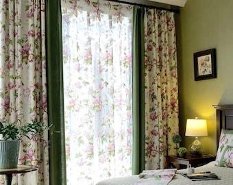 Custom Curtains Garden curtain fabric cotton linen ,Bedroom & Living Room Curtains Drapery Panels