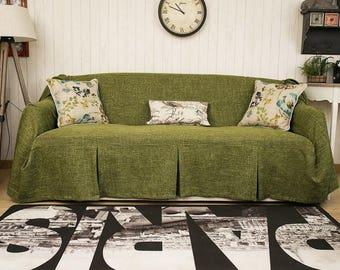 Exceptionnel Dark Green Couch Slipcover, Couch Cover For Pets, Linen Couch Cover, Fabric  Sofa Cover, Custom Sofa Cover, Sofa Chair Covers