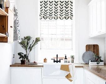 Inkflow Blackout Roman Shade, Custom Roman Shade, Black U0026 Off White, Kitchen  Curtains, Flat And Fold Roman Shade, Living Room Roman Shade