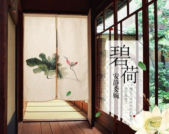 Lotus Flower And Leaf Floral Noren Japanese Curtain Door Doorway Fabric Divider Short Panel
